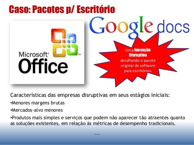Caso: Pacotes p/ Escritório ... Características das empresas disruptivas em seus estágios iniciais: •Menores margens bruta...