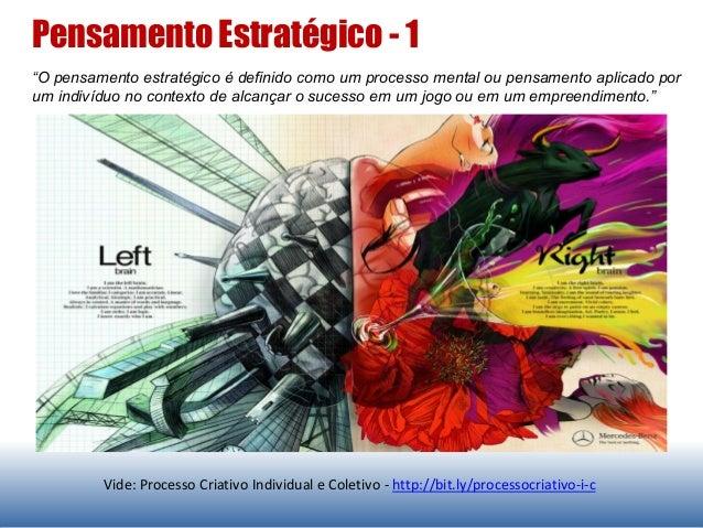 """Vide: Processo Criativo Individual e Coletivo - http://bit.ly/processocriativo-i-c """"O pensamento estratégico é definido co..."""
