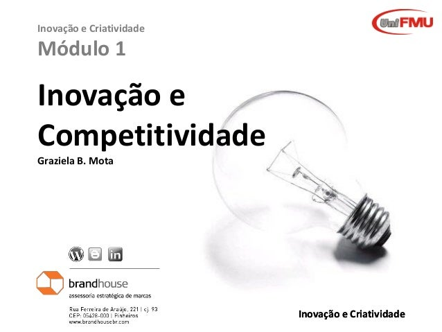 Inovação e Criatividade  Módulo 1  Inovação e Competitividade Graziela B. Mota  Graziela Mota  Inovação e Criatividade