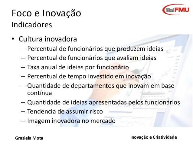 Foco e Inovação Indicadores • Cultura inovadora – – – – –  Percentual de funcionários que produzem ideias Percentual de fu...