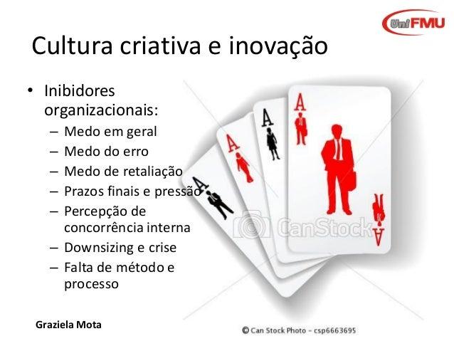 Cultura criativa e inovação • Inibidores organizacionais: – – – – –  Medo em geral Medo do erro Medo de retaliação Prazos ...