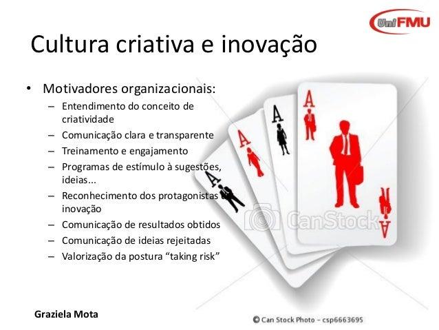 Cultura criativa e inovação • Motivadores organizacionais: – Entendimento do conceito de criatividade – Comunicação clara ...