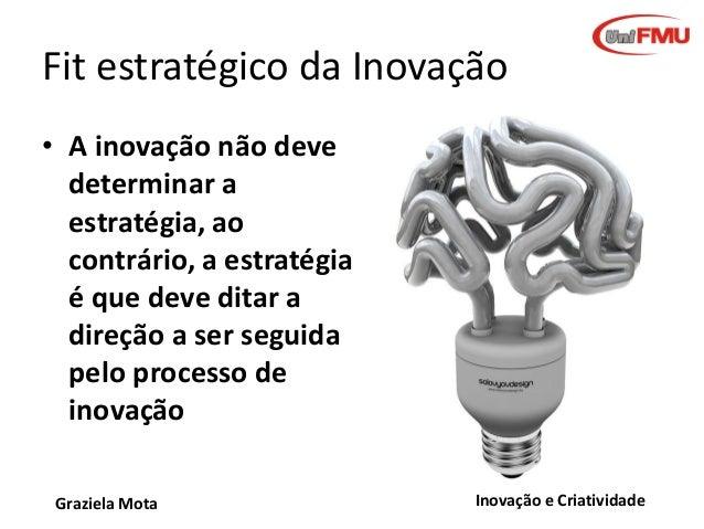 Fit estratégico da Inovação • A inovação não deve determinar a estratégia, ao contrário, a estratégia é que deve ditar a d...