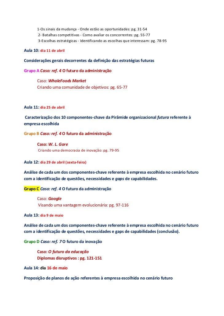 1‐Ossinaisdamudança‐Ondeestãoasoportunidades:pg.31‐54     2‐Batalhascompetitivas‐Comoavaliarosco...