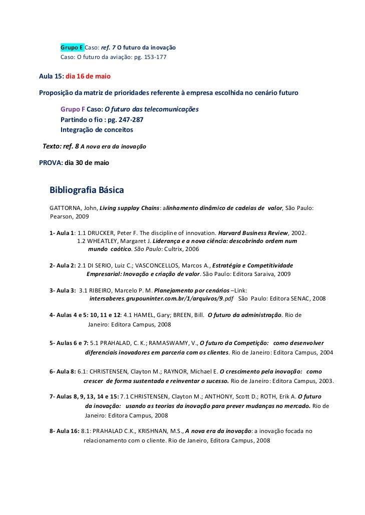 GrupoECaso:ref.7Ofuturodainovação        Caso:Ofuturodaaviação:pg.153‐177        Aula15:dia16demaio...