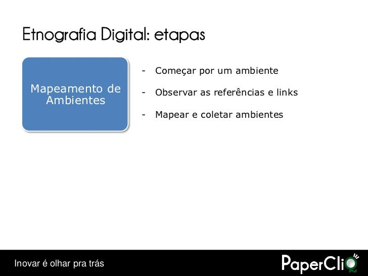 Etnografia Digital: etapas                           -   Começar por um ambiente      Mapeamento de         -   Observar a...