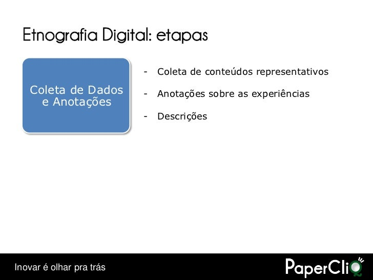 Etnografia Digital: etapas                           -   Coleta de conteúdos representativos     Coleta de Dados        - ...