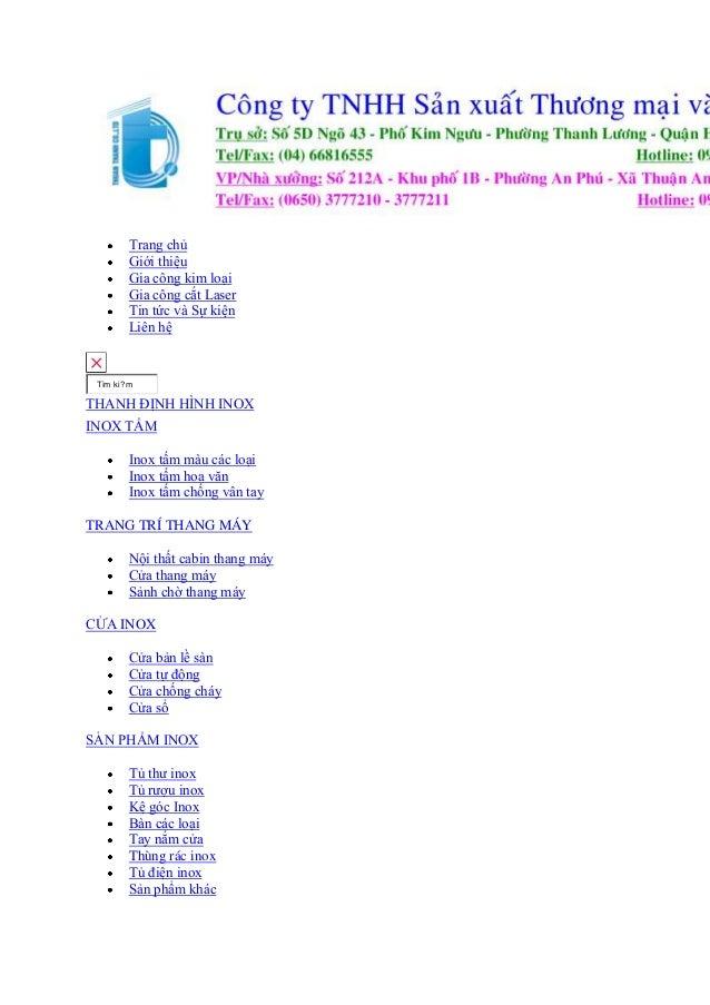 Trang chủ Giới thiệu Gia công kim loại Gia công cắt Laser Tin tức và Sự kiện Liên hệ  Tìm ki?m  THANH ĐỊNH HÌNH INOX INOX ...