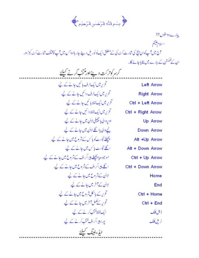Inpage shortcut in urdu