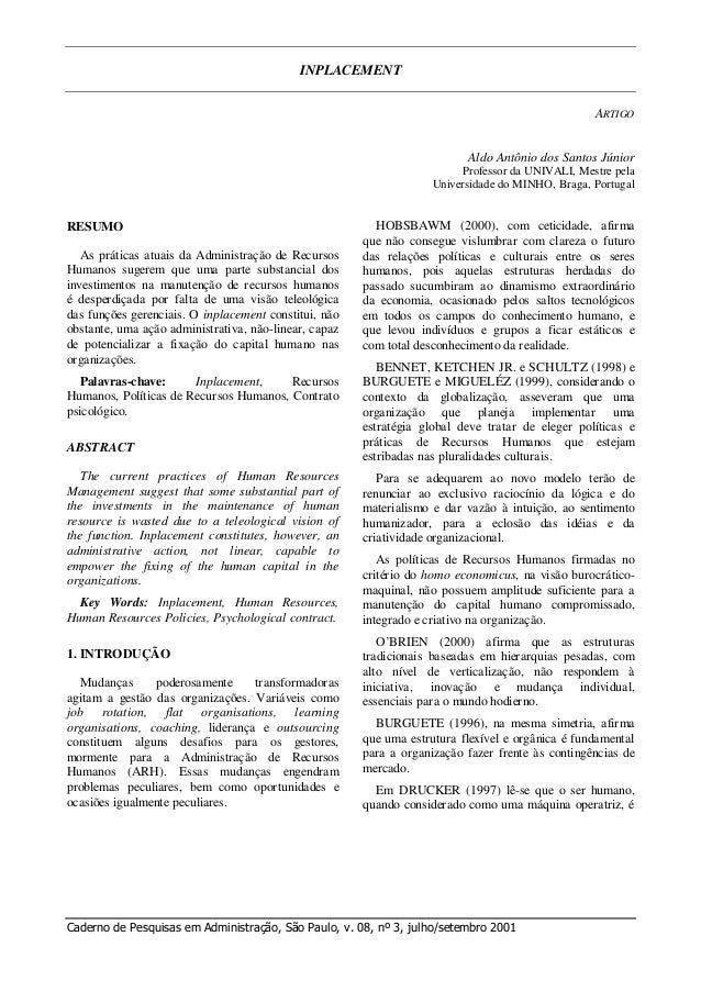 INPLACEMENT ARTIGO Caderno de Pesquisas em Administração, São Paulo, v. 08, nº 3, julho/setembro 2001 Aldo Antônio dos San...