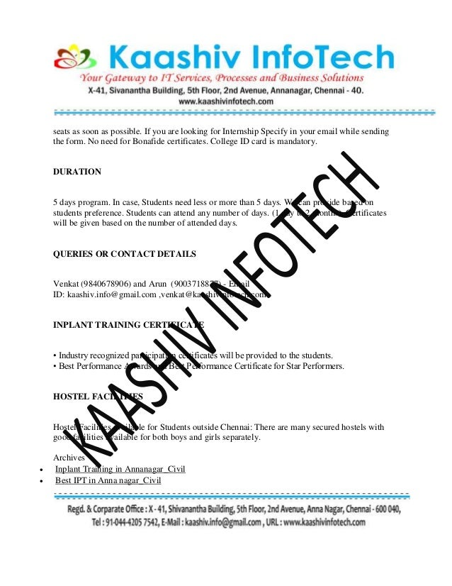civil engineering training certificate format inplant training in chennai for civil engineering