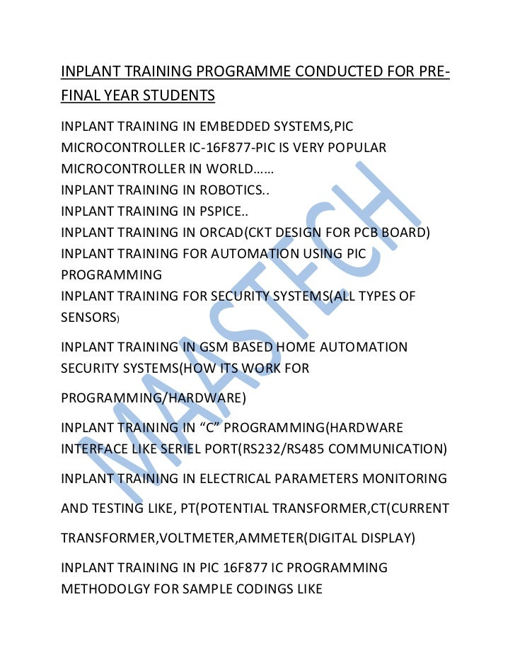 INPLANT TRAINING PROGRAMME CONDUCTED FOR PRE-FINAL YEAR STUDENTSINPLANT TRAINING IN EMBEDDED SYSTEMS,PICMICROCONTROLLER IC...