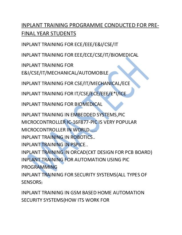 INPLANT TRAINING PROGRAMME CONDUCTED FOR PRE-FINAL YEAR STUDENTSINPLANT TRAINING FOR ECE/EEE/E&I/CSE/ITINPLANT TRAINING FO...