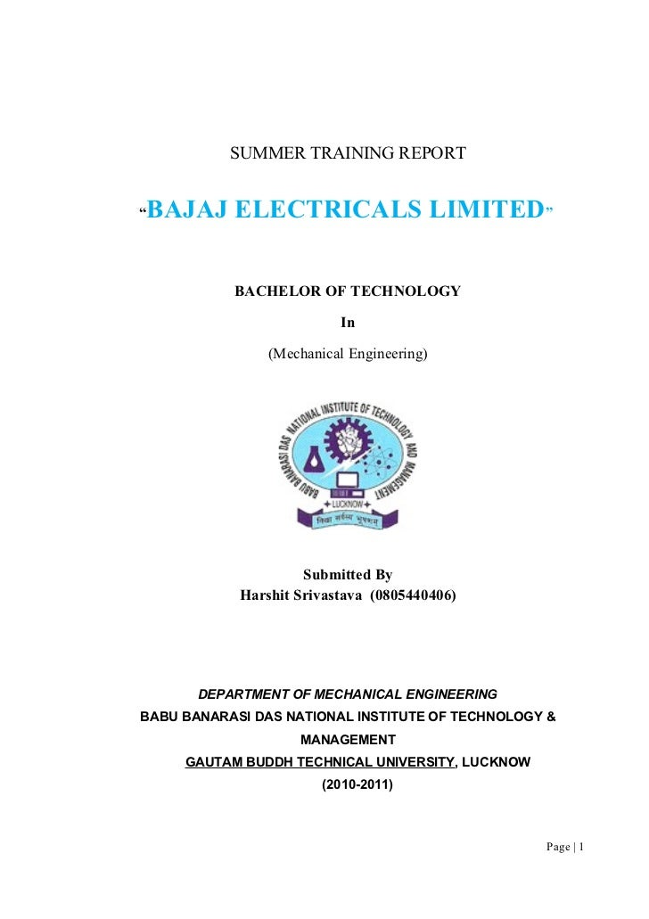 format of summer training report