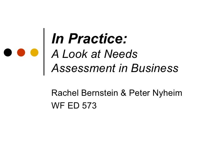In Practice: A Look at Needs Assessment in Business Rachel Bernstein & Peter Nyheim WF ED 573