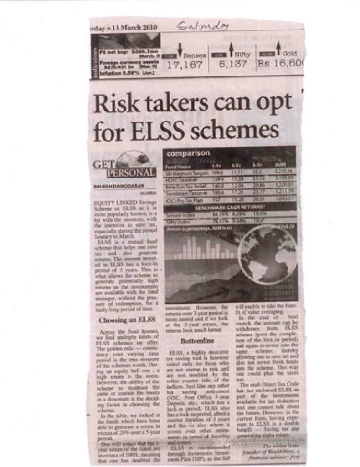In print risk takers can opt for elss schemes