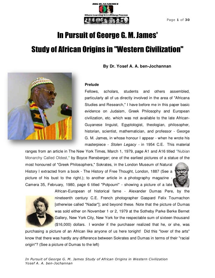 """Page 1 of 30                   In Pursuit of George G. M. James   Study of African Origins in """"Western Civilization""""      ..."""