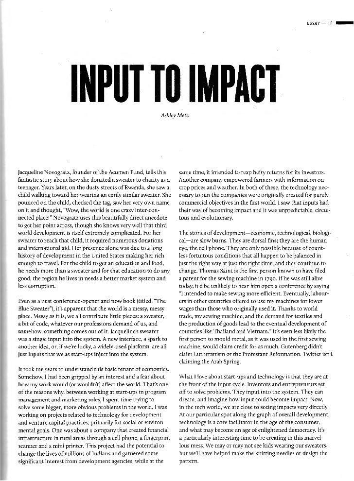 ESSAY-II-                       INPUT TO IMPACT                         Ashley Metzjacqueline Novogratz, founder of the Ac...
