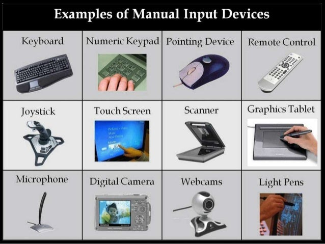 write a short note on input and output devices with examples show