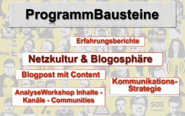 ProgrammBausteine                 Erfahrungsberichte   Netzkultur & Blogosphäre Blogpost mit Content                      ...