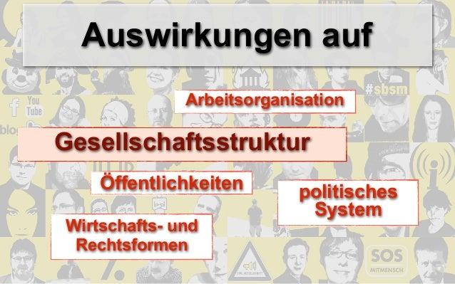 Auswirkungen auf              ArbeitsorganisationGesellschaftsstruktur    Öffentlichkeiten       politisches              ...