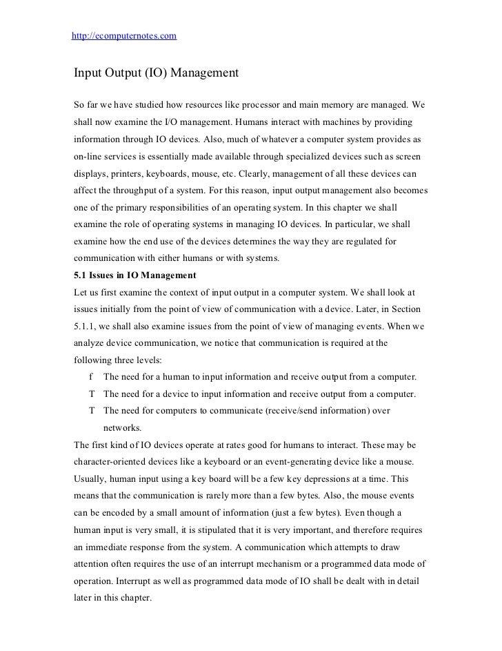 computer notes - Input output (io) management