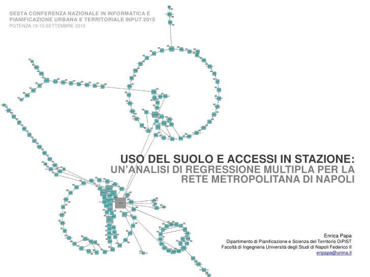 SESTA CONFERENZA NAZIONALE IN INFORMATICA E PIANIFICAZIONE URBANA E TERRITORIALE INPUT 2010POTENZA 13-15 SETTEMBRE 2010<br...