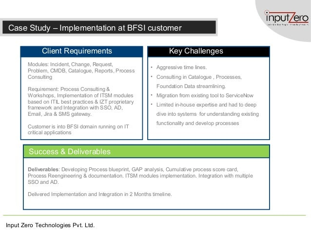 Input Zero Technologies Pvt. Ltd. Case Study – Implementation at BFSI customer Client Requirements Key Challenges Success ...