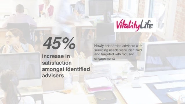 Newly onboarded advisers with servicing needs were identified and targeted with focused engagements 45% increase in satisf...
