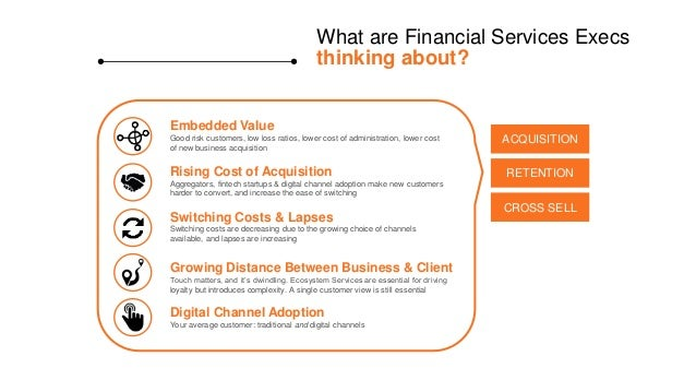 What are Financial Services Execs thinking about? Embedded Value Good risk customers, low loss ratios, lower cost of admin...