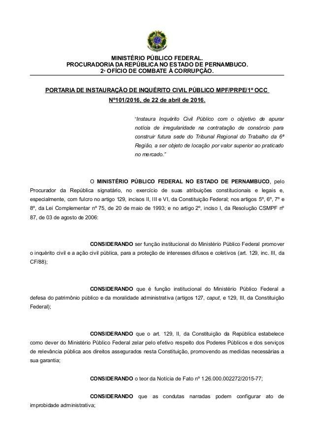 MINISTÉRIO PÚBLICO FEDERAL. PROCURADORIA DA REPÚBLICA NO ESTADO DE PERNAMBUCO. 2º OFÍCIO DE COMBATE À CORRUPÇÃO. PORTARIA ...