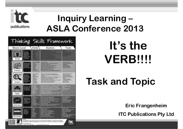 Inquiry Learning – ASLA Conference 2013 Eric Frangenheim ITC Publications Pty Ltd It's the VERB!!!! Task and Topic