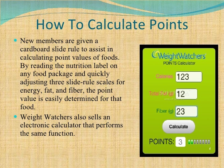 How to calculate ww points allowance