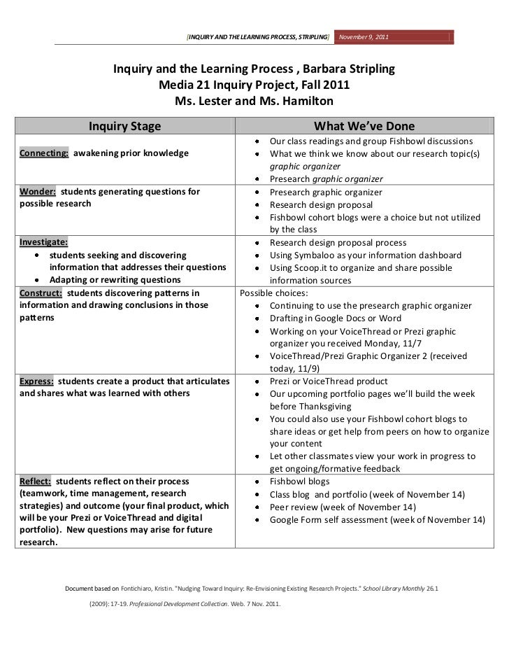 [INQUIRY AND THE LEARNING PROCESS, STRIPLING]          November 9, 2011                           Inquiry and the Learning...