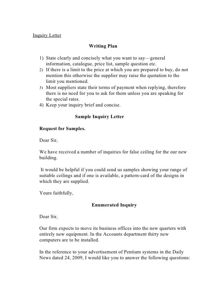 Inquiry Letter Writing Plan 1) State Clearly And Concisely What ...  Inquiry Letters Example