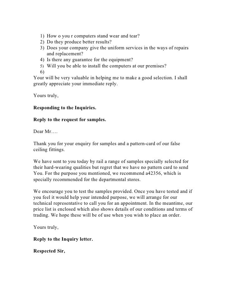 SlideShare  Example Inquiry Letter