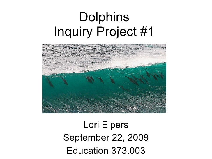 Dolphins Inquiry Project #1 Lori Elpers September 22, 2009 Education 373.003