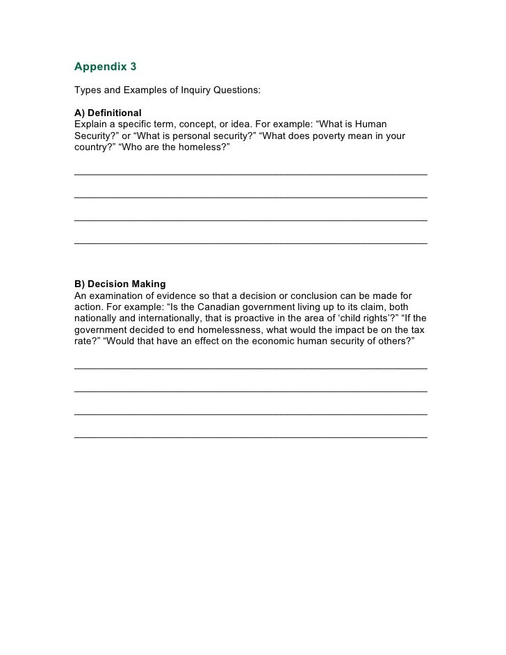 Appendix 3  Types and Examples of Inquiry Questions:  A) Definitional Explain a specific term, concept, or idea. For examp...