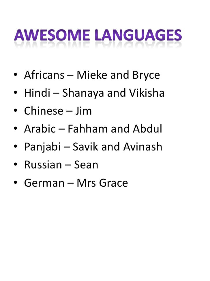 •   Africans – Mieke and Bryce•   Hindi – Shanaya and Vikisha•   Chinese – Jim•   Arabic – Fahham and Abdul•   Panjabi – S...