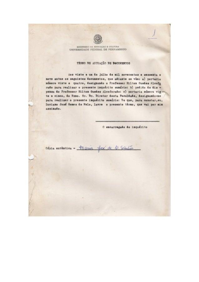 Inquérito 477 faculdade de direito da ufpe 1969 íntegra
