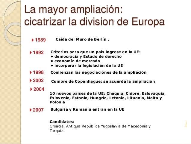 La mayor ampliación: cicatrizar la division de Europa Caída del Muro de Berlín . Criterios para que un país ingrese en la ...