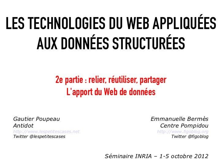 LES TECHNOLOGIES DU WEB APPLIQUÉES      AUX DONNÉES STRUCTURÉES                    2e partie : relier, réutiliser, partage...