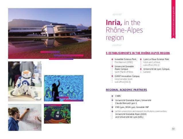 Inria, in the Rhône-Alpes region 5 ESTABLISHMENTS IN THE RHÔNE-ALPES REGION REGIONAL ACADEMIC PARTNERS Inovallée Science P...