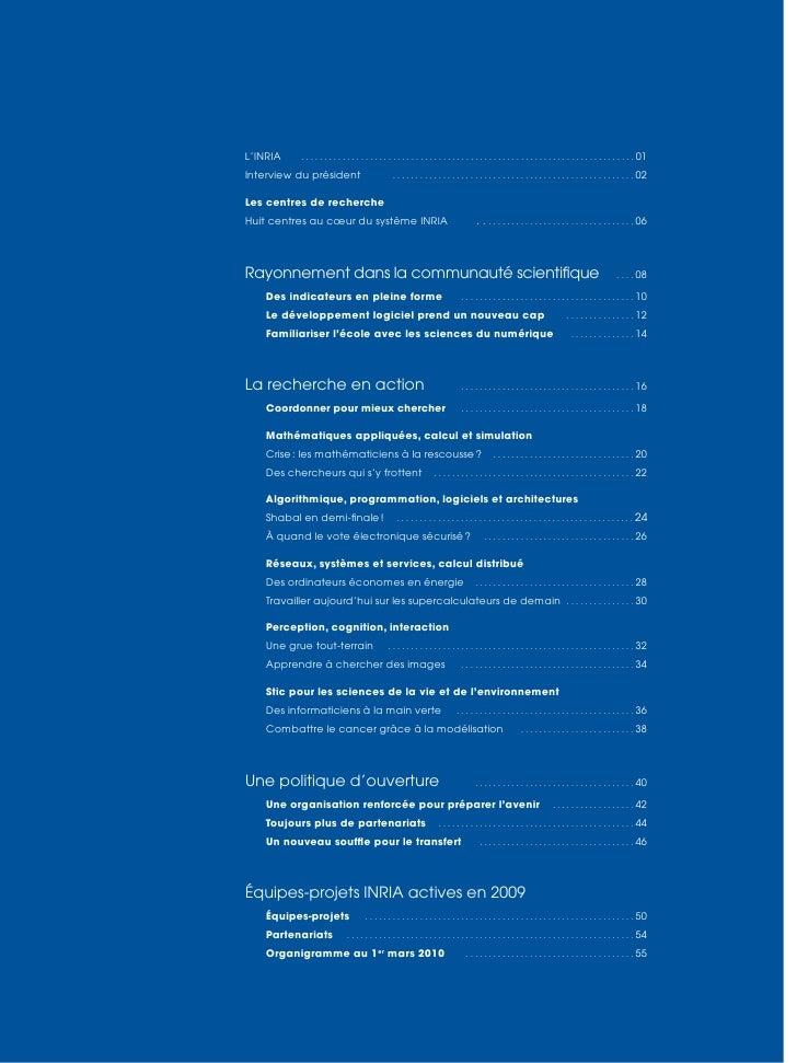 Inria -  Rapport annuel 2009 Slide 3