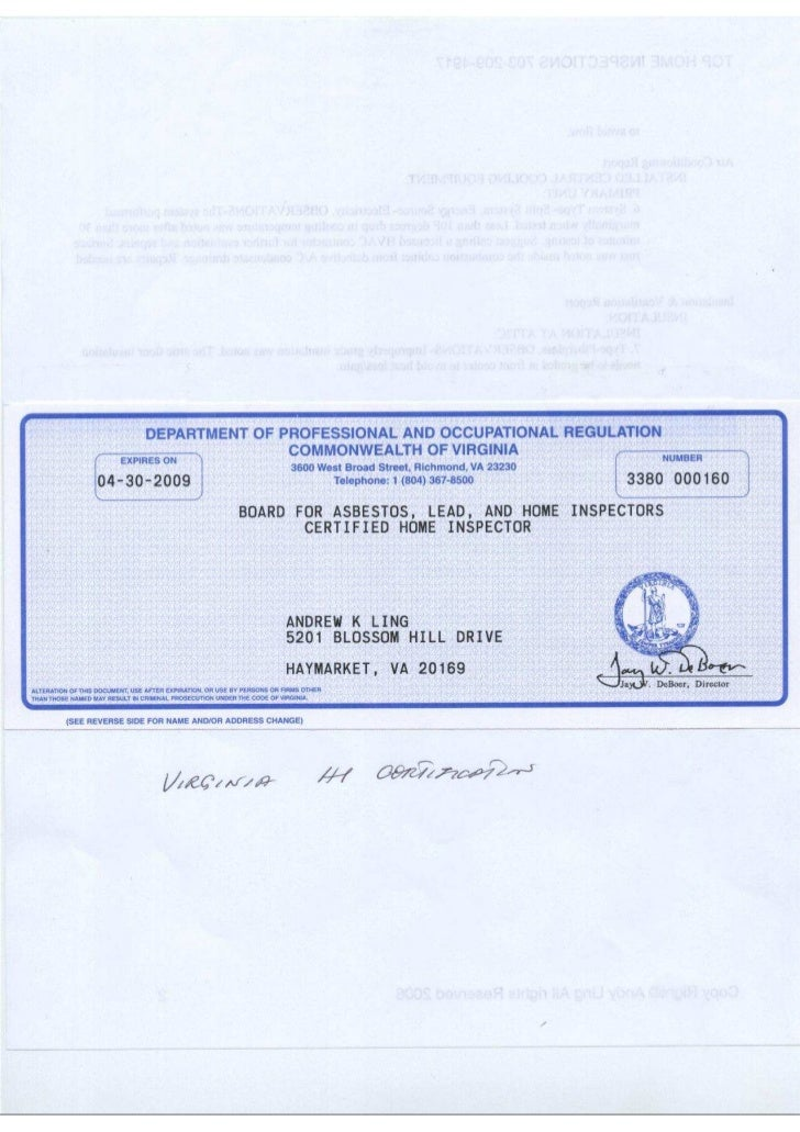 DEPARTMENT OF PROFESSIONAL AND OCCUPATIONAL REGULATION                                                COMMONWEALTH OF VIRG...