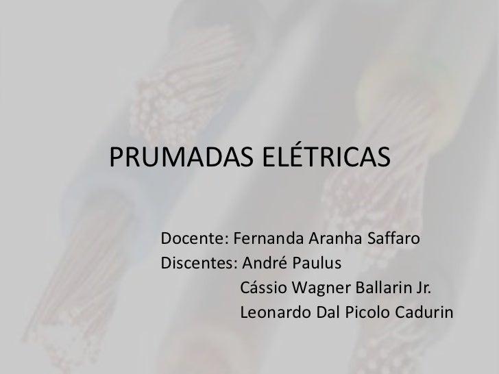 PRUMADAS ELÉTRICAS   Docente: Fernanda Aranha Saffaro   Discentes: André Paulus             Cássio Wagner Ballarin Jr.    ...