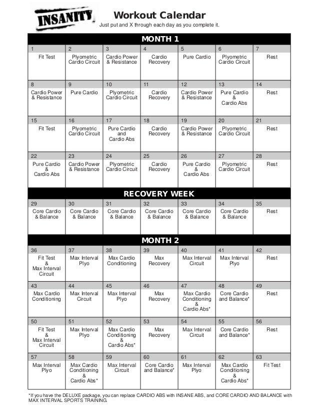 Insanity calendar fittest