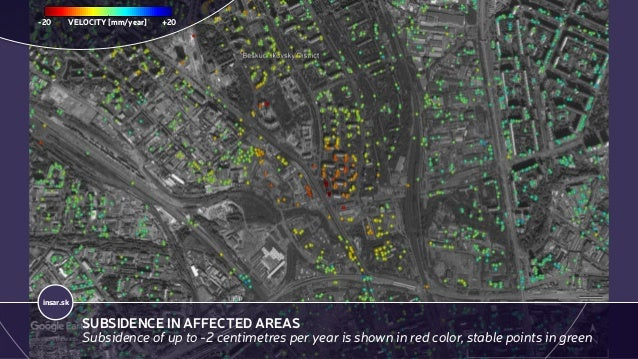 insar.sk SUBSIDENCE IN AFFECTED AREAS Subsidence of up to -2 centimetres per year is shown in red color, stable points in ...