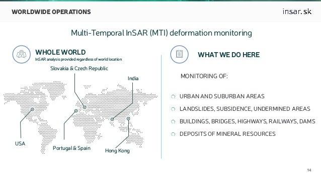  14 WORLDWIDE OPERATIONS Multi-Temporal InSAR (MTI) deformation monitoring  WHOLE WORLD InSAR analysis provided regardle...