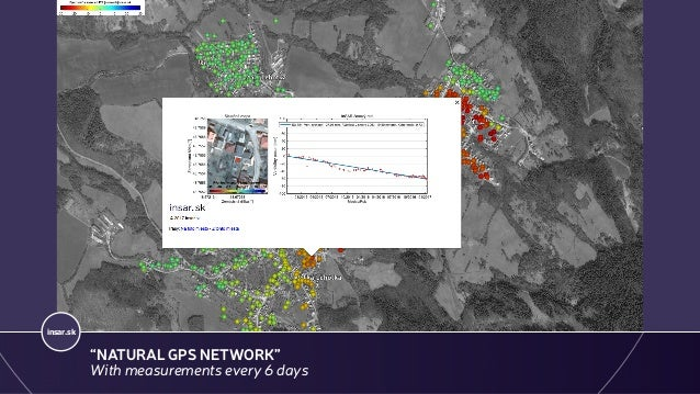 """GEOHAZARDS - LANDSLIDES, PRIEVIDZA, SENTINEL-1 (2014 -2017) insar.sk """"NATURAL GPS NETWORK"""" With measurements every 6 days"""